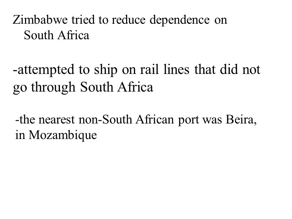 -attempted to ship on rail lines that did not go through South Africa