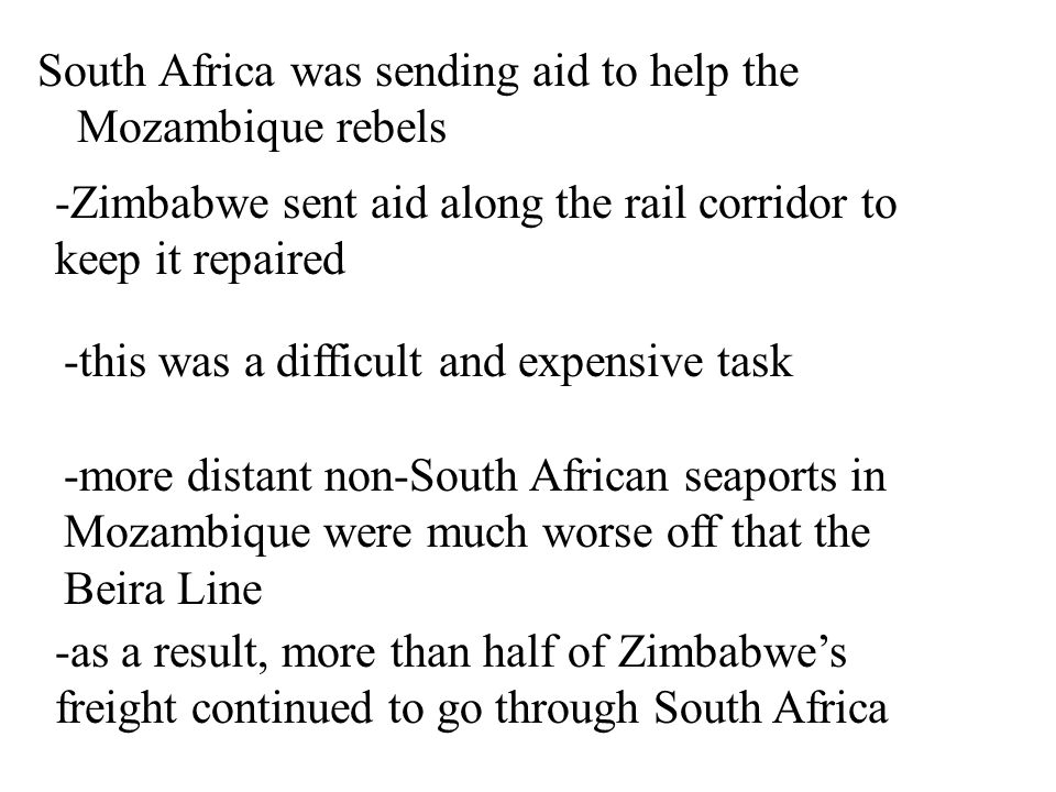 South Africa was sending aid to help the Mozambique rebels