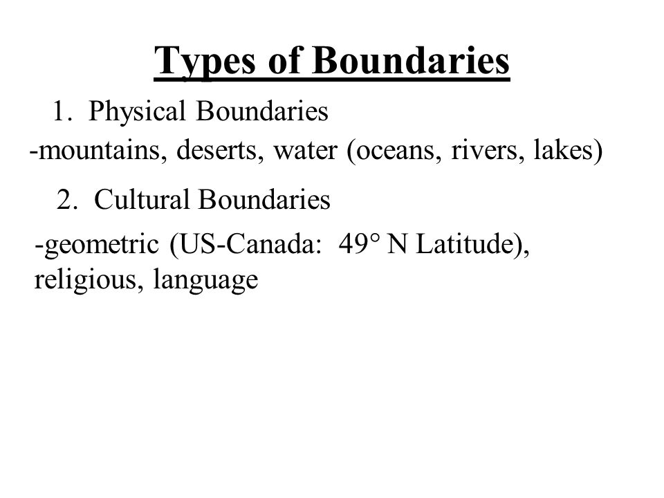 Types of Boundaries 1. Physical Boundaries