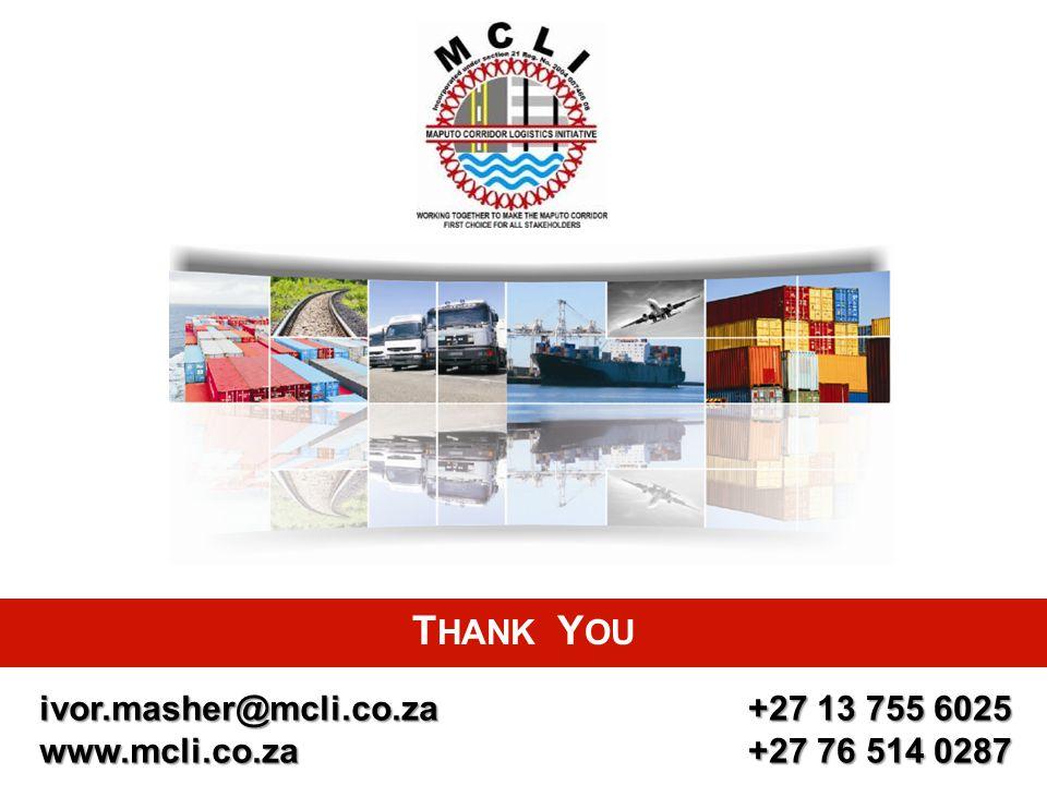 THANK YOU ivor.masher@mcli.co.za www.mcli.co.za +27 13 755 6025