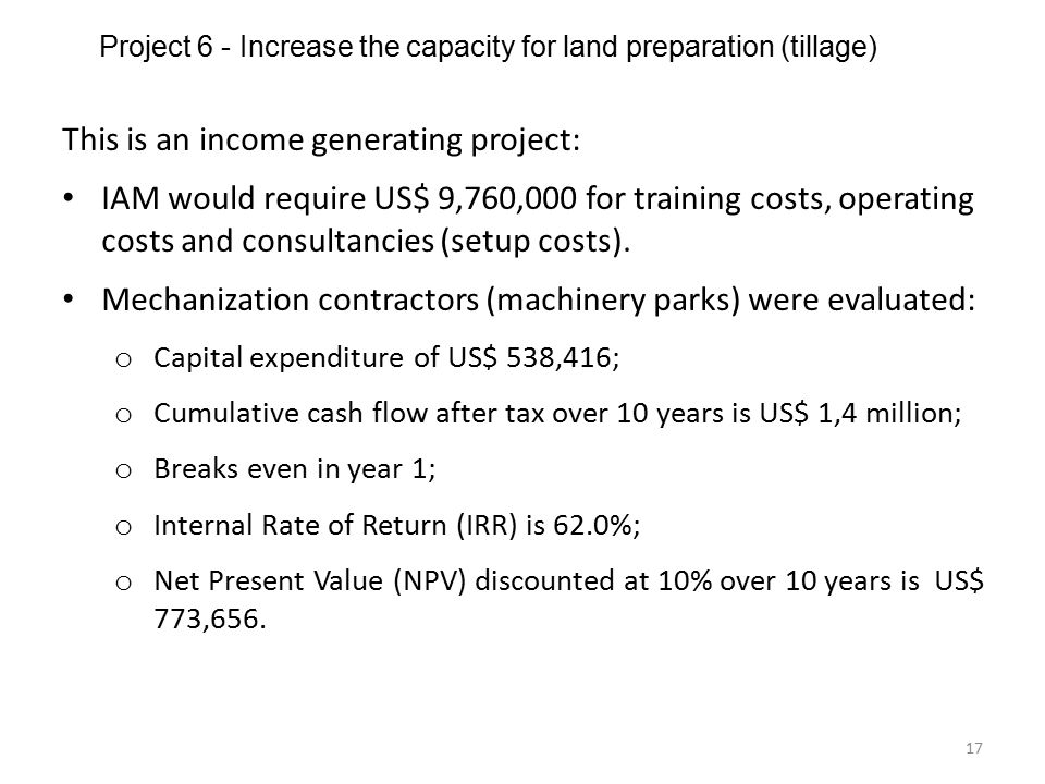 Project 6 - Increase the capacity for land preparation (tillage)