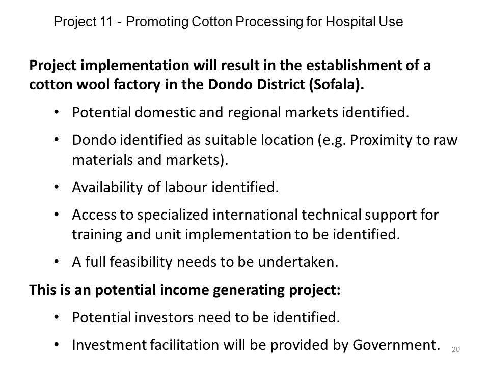 Project 11 - Promoting Cotton Processing for Hospital Use