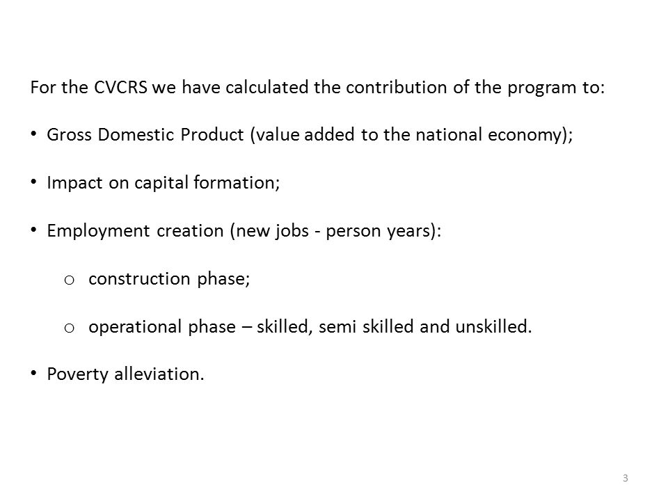 CVCRS Economic Feasibility - Impacts