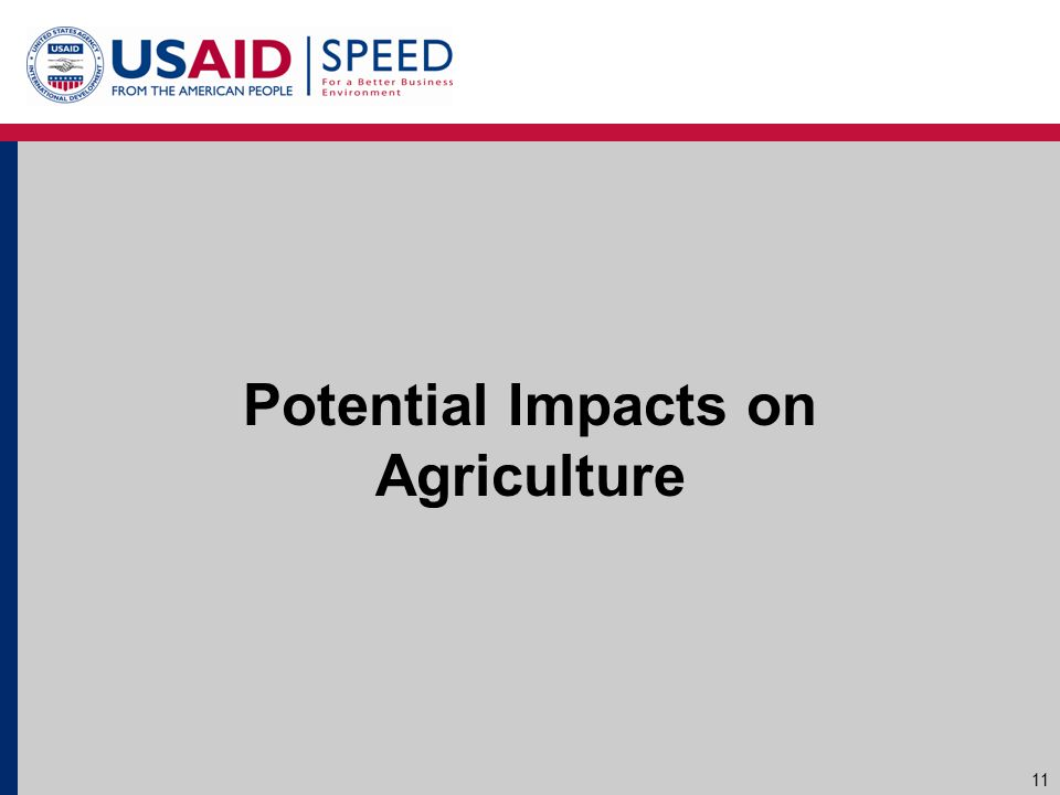 Potential Impacts on Agriculture