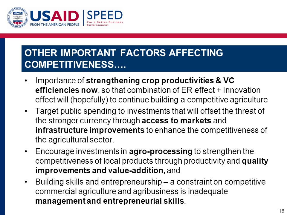 Other important factors affecting competitiveness….