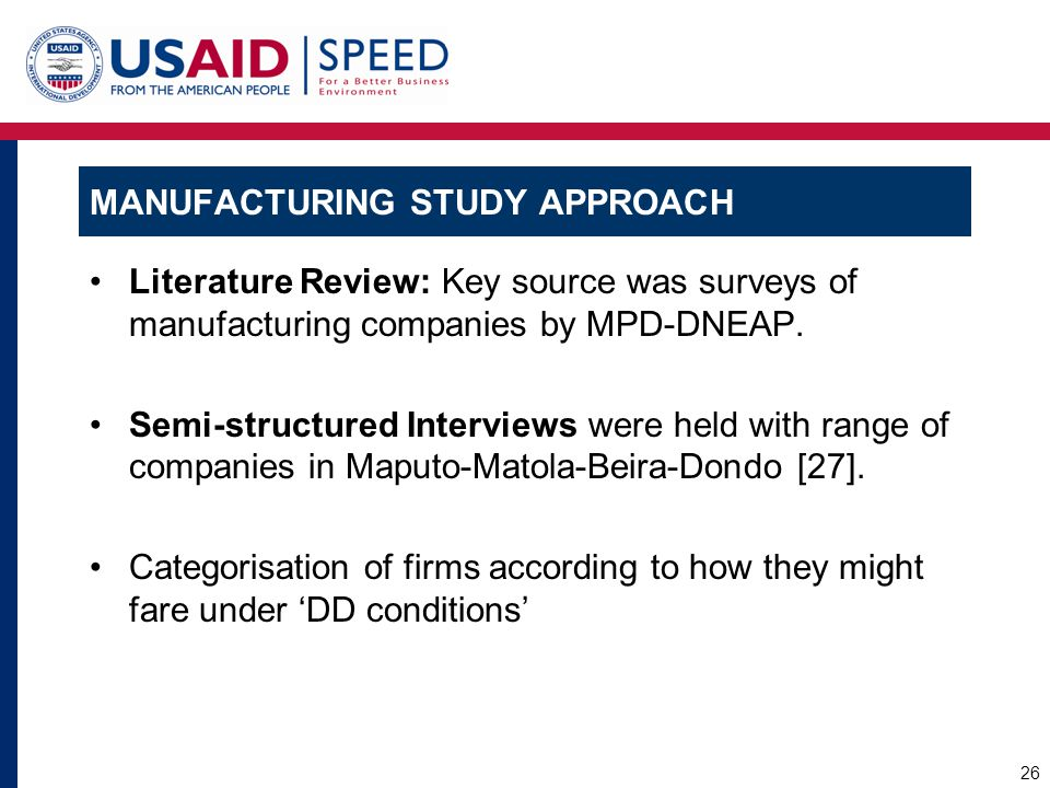 Manufacturing Study Approach