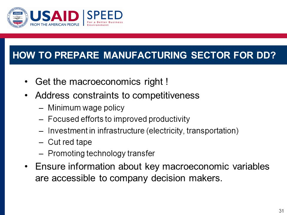 How to Prepare Manufacturing Sector for DD
