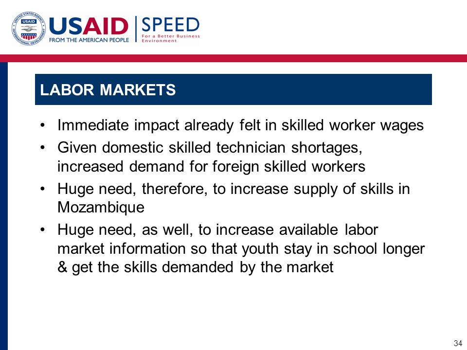 Labor Markets Immediate impact already felt in skilled worker wages.