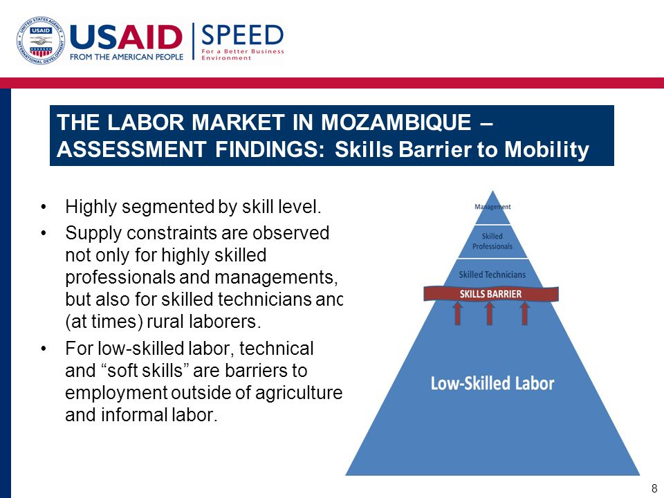 THE LABOR MARKET IN MOZAMBIQUE – ASSESSMENT FINDINGS: Skills Barrier to Mobility