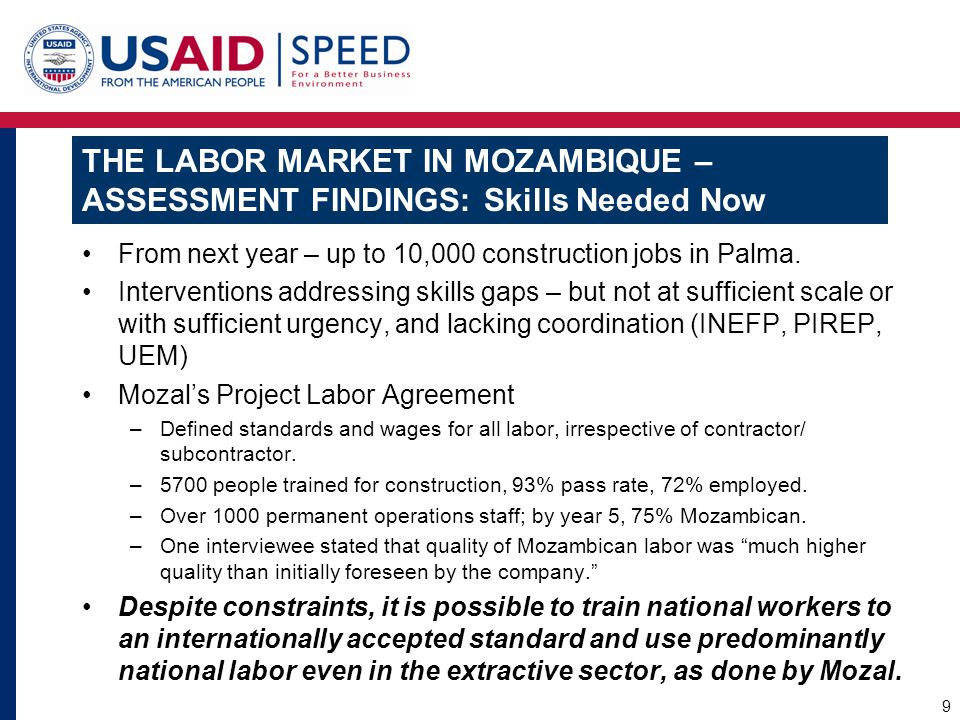 THE LABOR MARKET IN MOZAMBIQUE – ASSESSMENT FINDINGS: Skills Needed Now