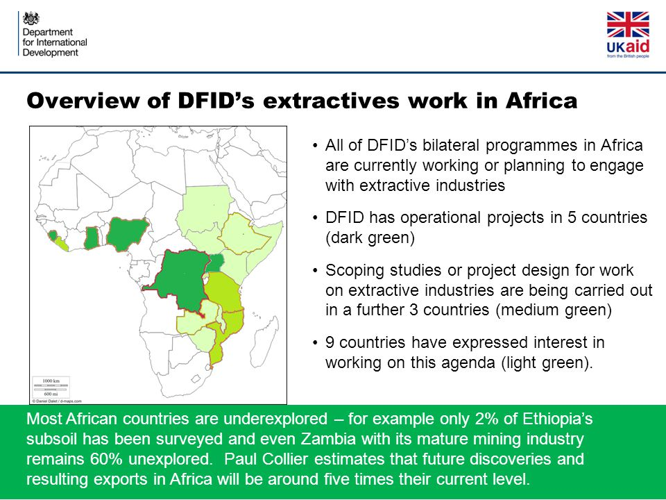 Overview of DFID's extractives work in Africa