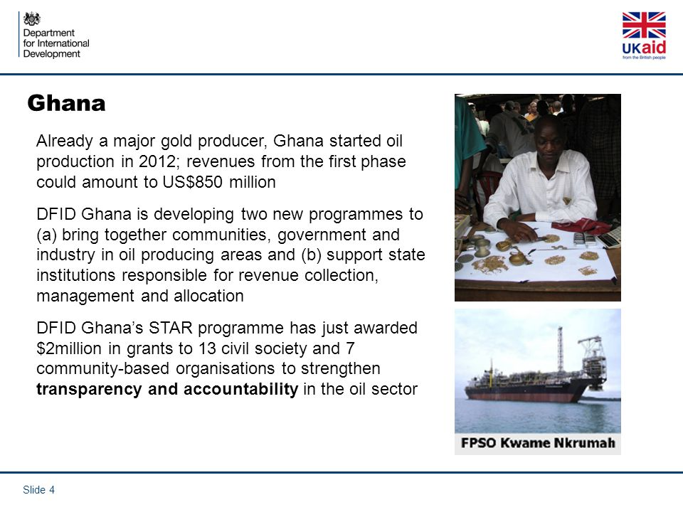 Ghana Already a major gold producer, Ghana started oil production in 2012; revenues from the first phase could amount to US$850 million.