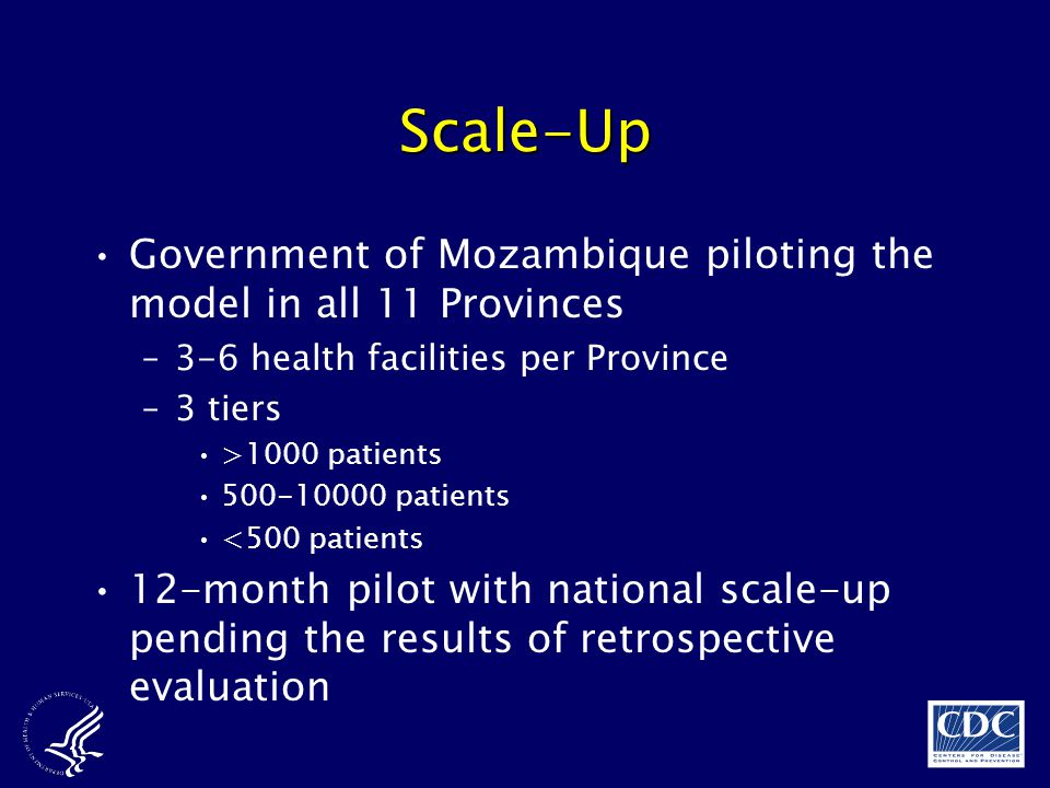 Scale-Up Government of Mozambique piloting the model in all 11 Provinces. 3-6 health facilities per Province.