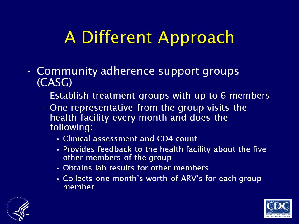 A Different Approach Community adherence support groups (CASG)