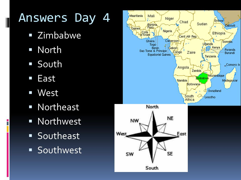 Answers Day 4 Zimbabwe North South East West Northeast Northwest