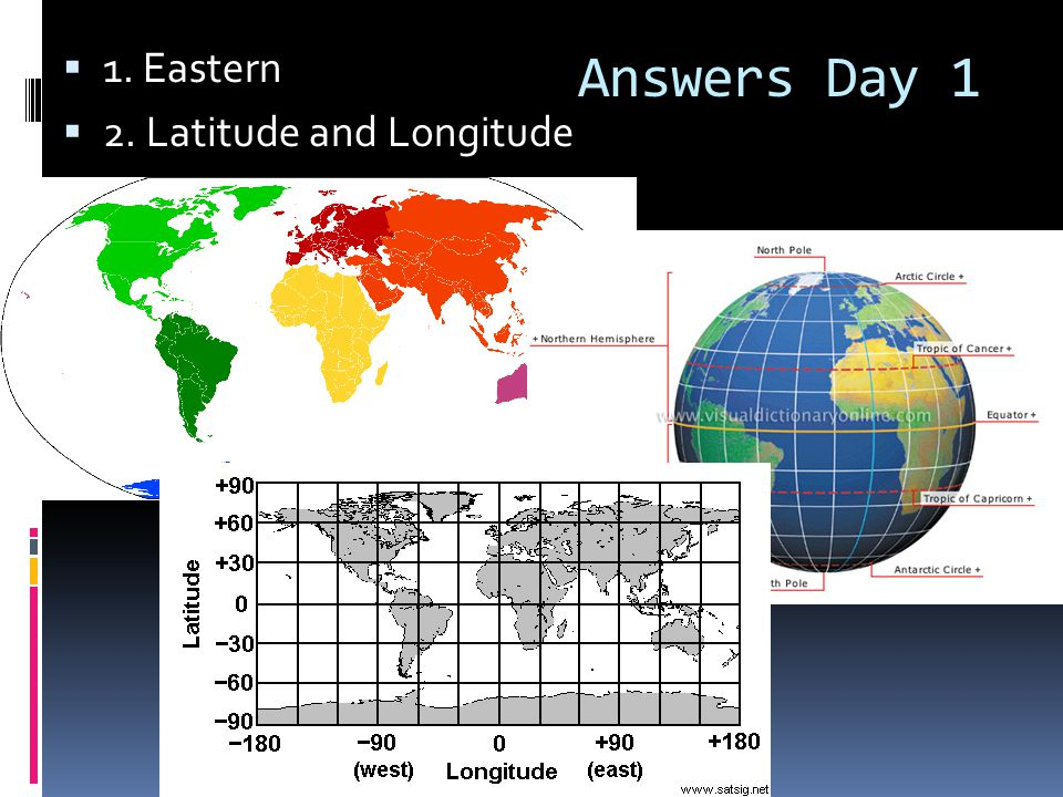 1. Eastern 2. Latitude and Longitude Answers Day 1