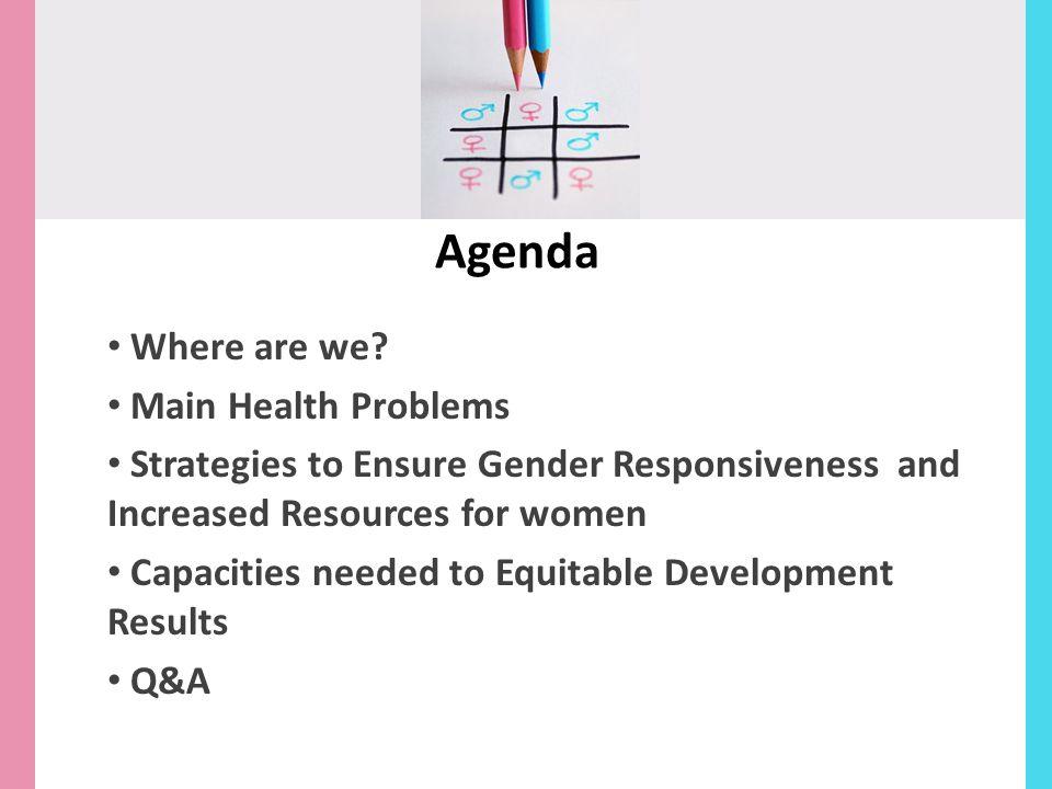 Agenda Where are we Main Health Problems