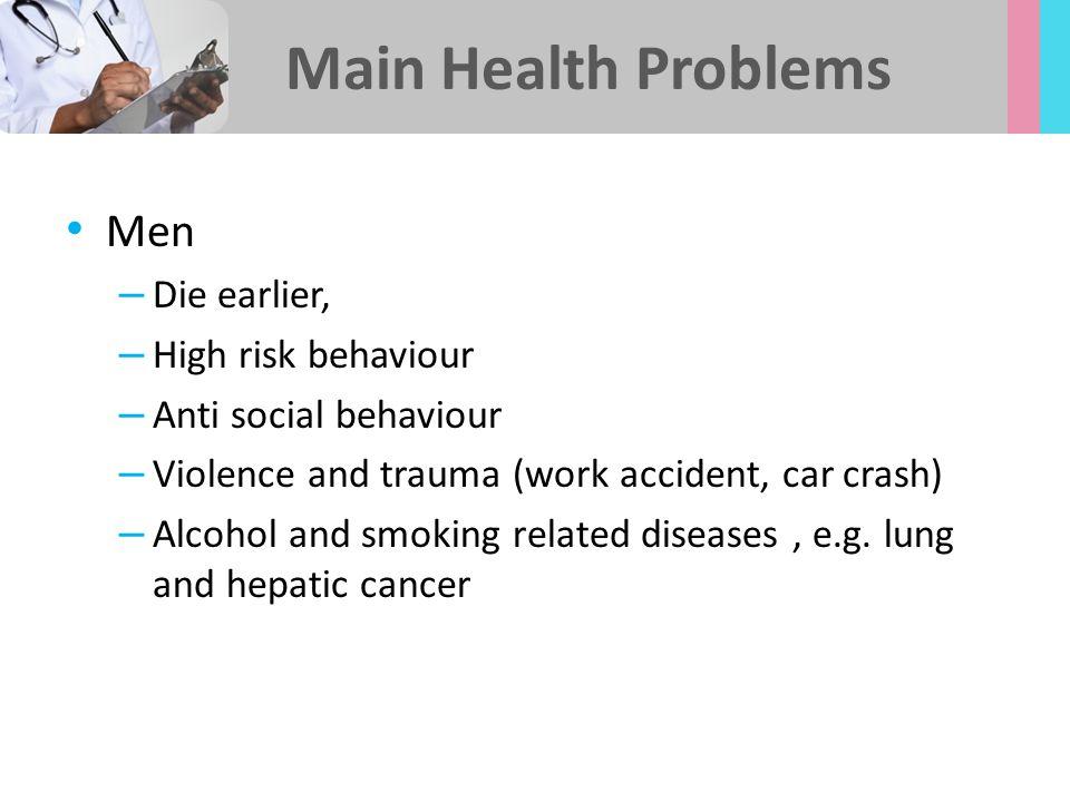 Main Health Problems Men Die earlier, High risk behaviour