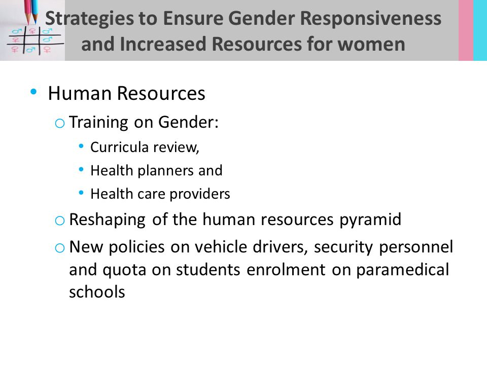 Strategies to Ensure Gender Responsiveness and Increased Resources for women