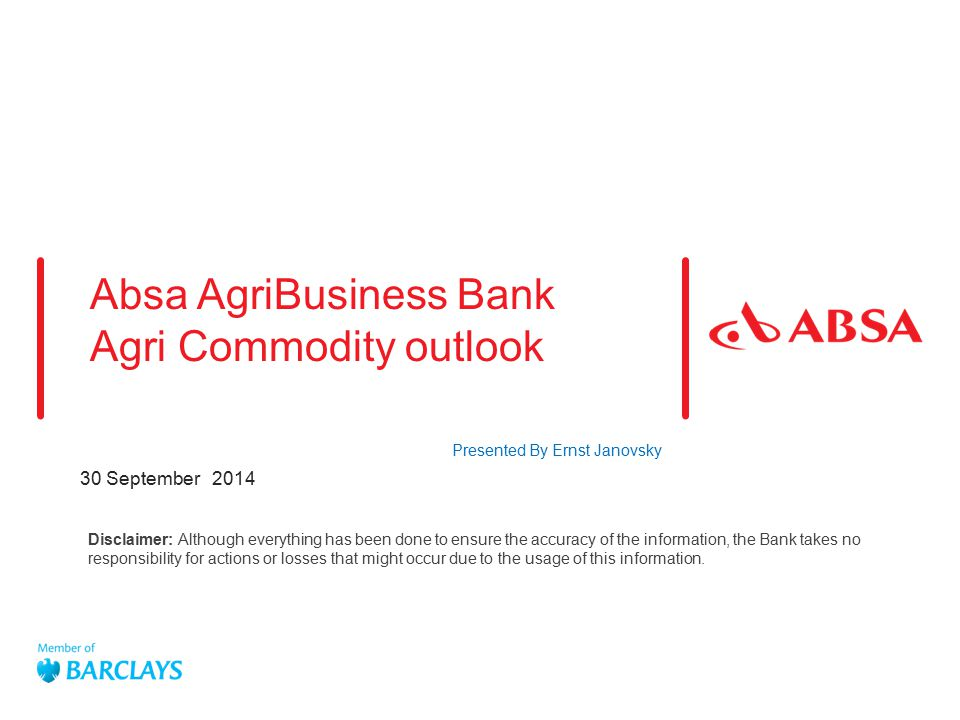 Absa AgriBusiness Bank Agri Commodity outlook