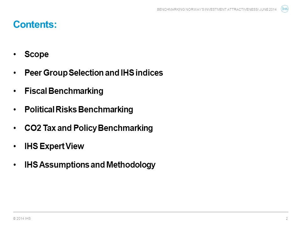 Contents: Scope Peer Group Selection and IHS indices