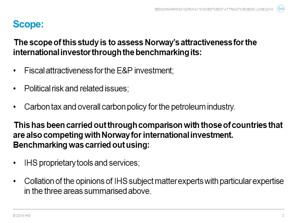 Benchmarking Norway's investment attractiveness/ JUNE 2014