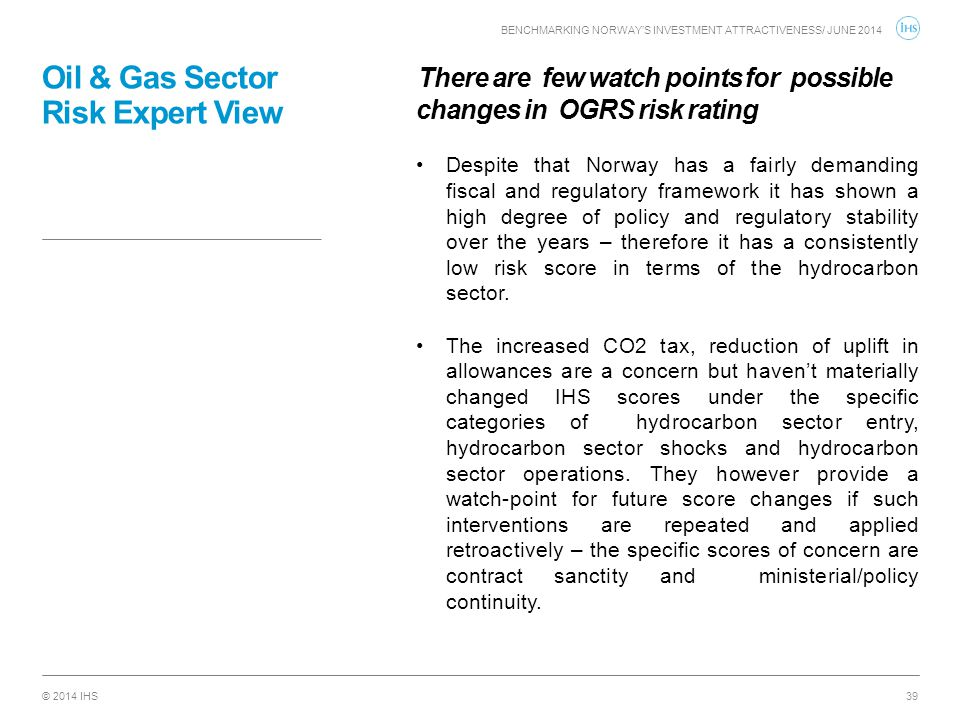 Oil & Gas Sector Risk Expert View