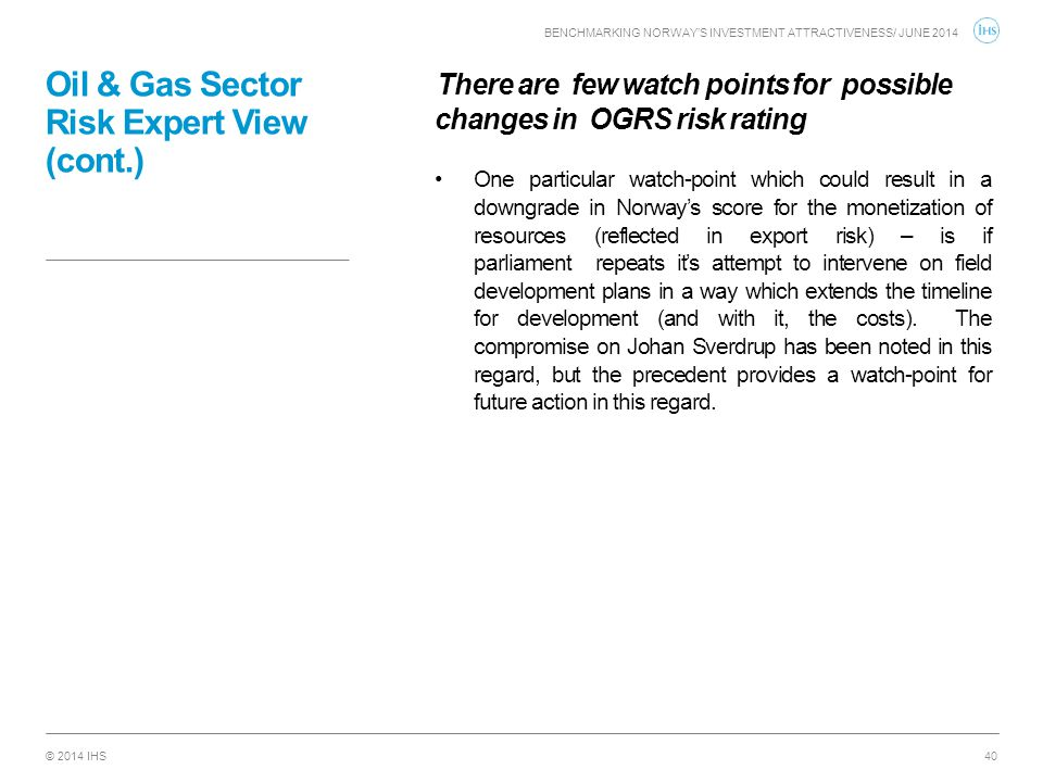 Oil & Gas Sector Risk Expert View (cont.)