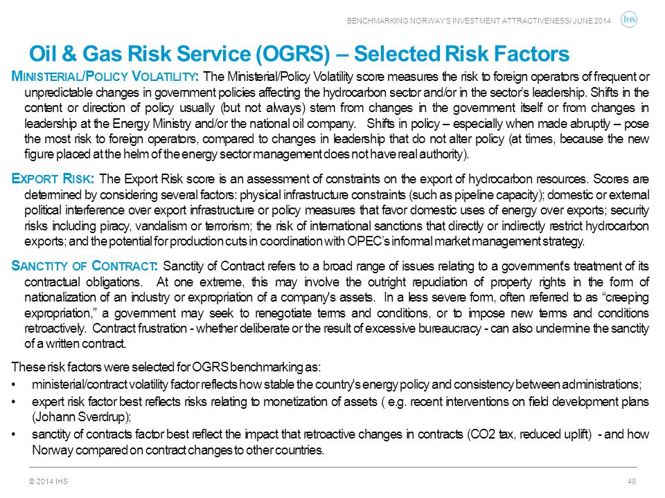 Oil & Gas Risk Service (OGRS) – Selected Risk Factors