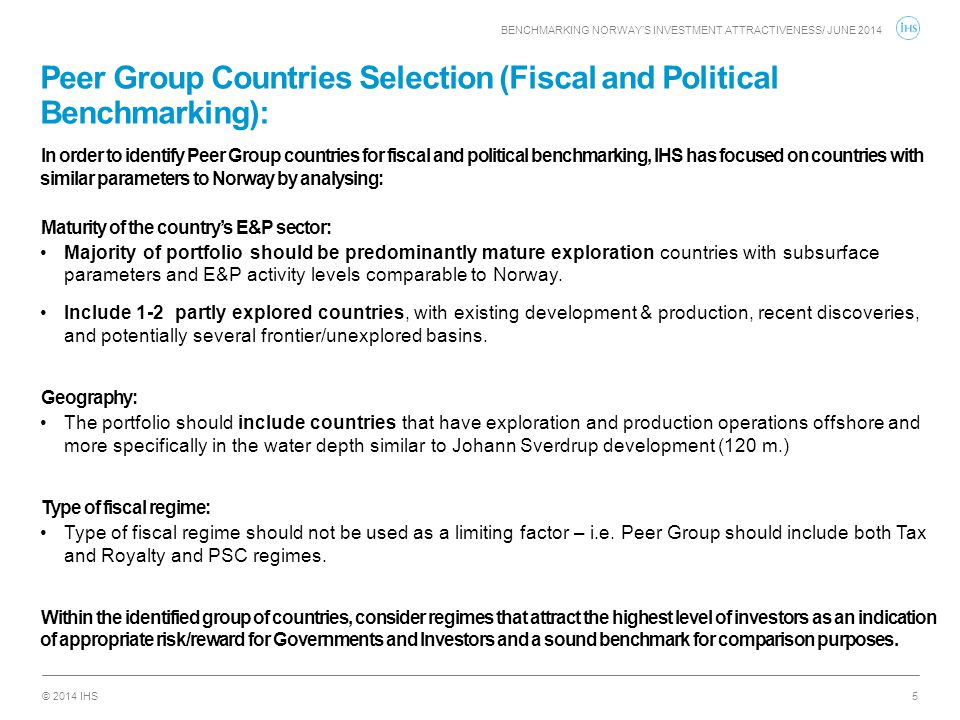 Peer Group Countries Selection (Fiscal and Political Benchmarking):