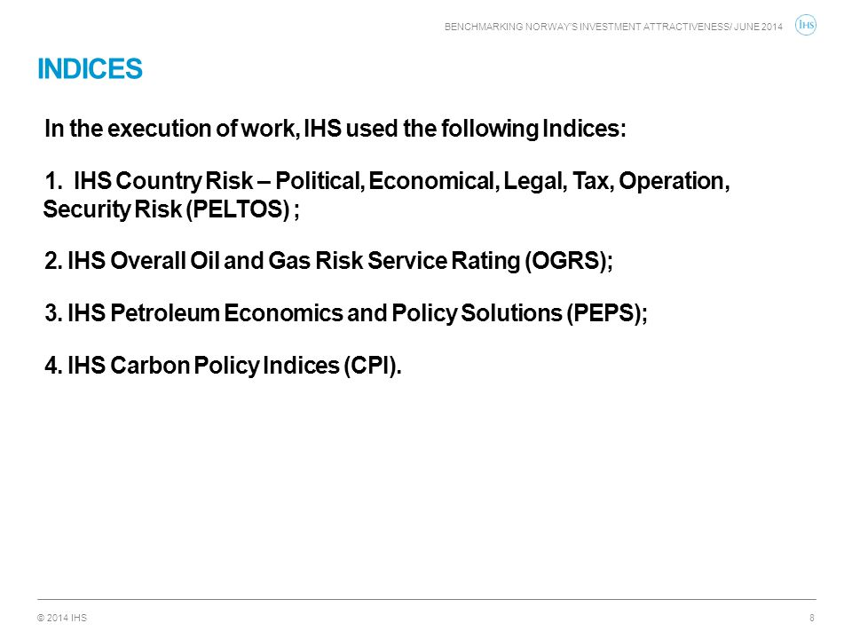 INDICES In the execution of work, IHS used the following Indices: