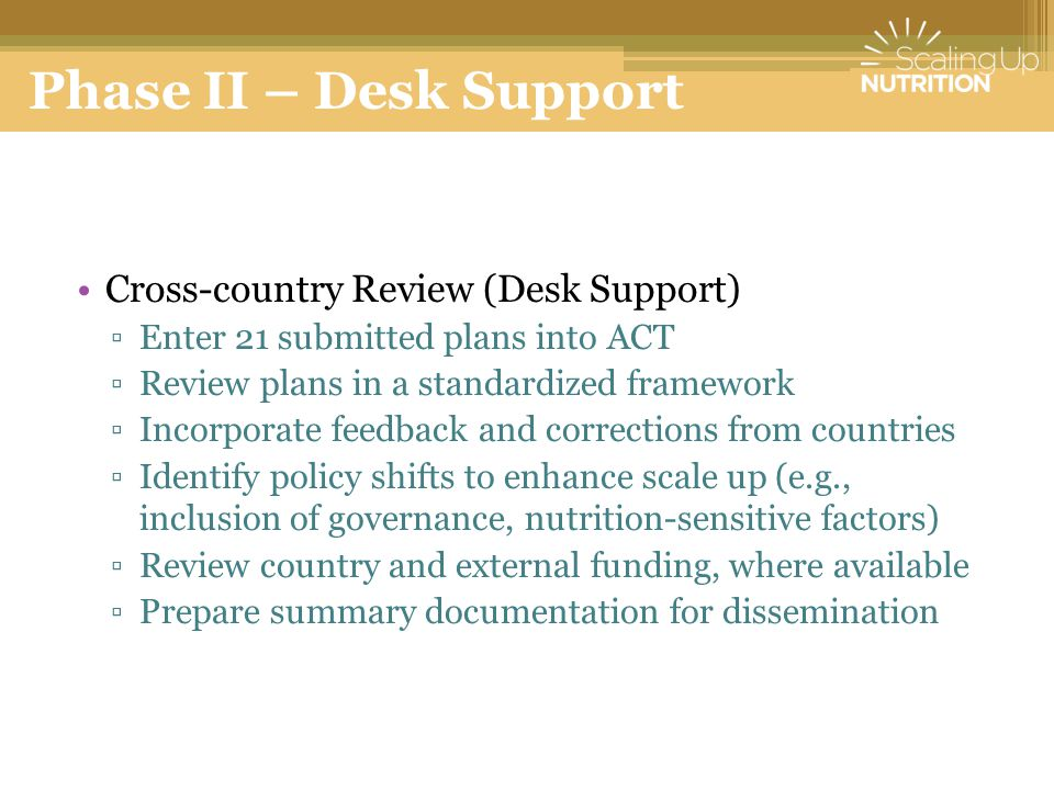 Phase II – Desk Support Cross-country Review (Desk Support)