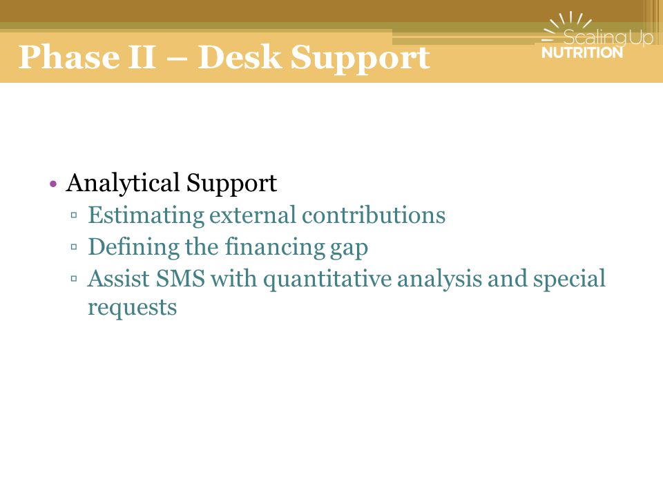 Phase II – Desk Support Analytical Support