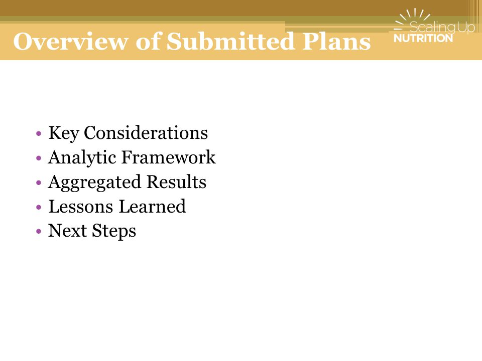 Overview of Submitted Plans