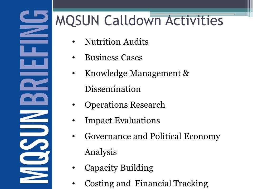 MQSUN Calldown Activities