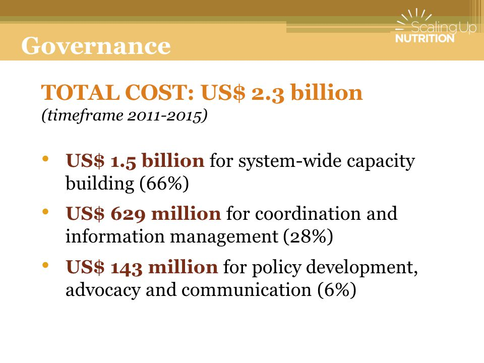 Governance TOTAL COST: US$ 2.3 billion