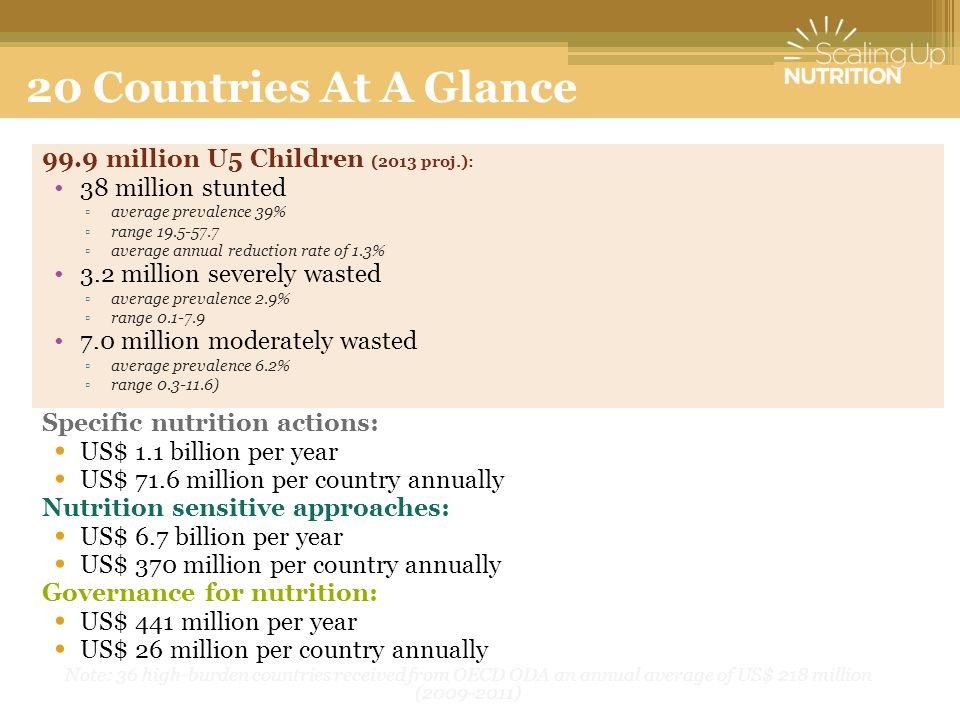 20 Countries At A Glance 99.9 million U5 Children (2013 proj.):