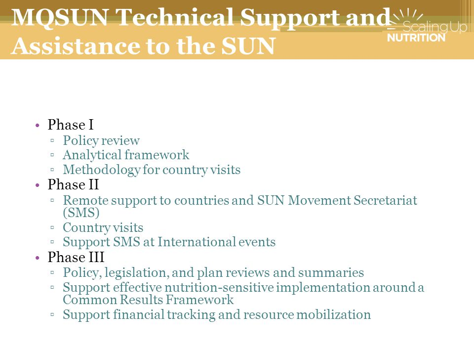 MQSUN Technical Support and Assistance to the SUN Movement