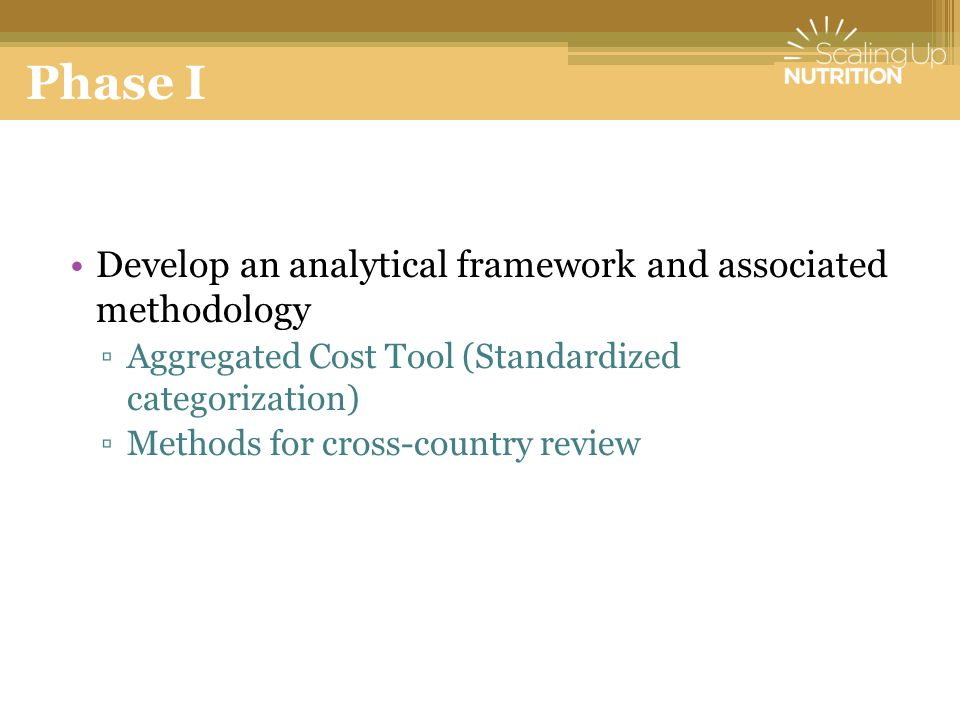 Phase I Develop an analytical framework and associated methodology
