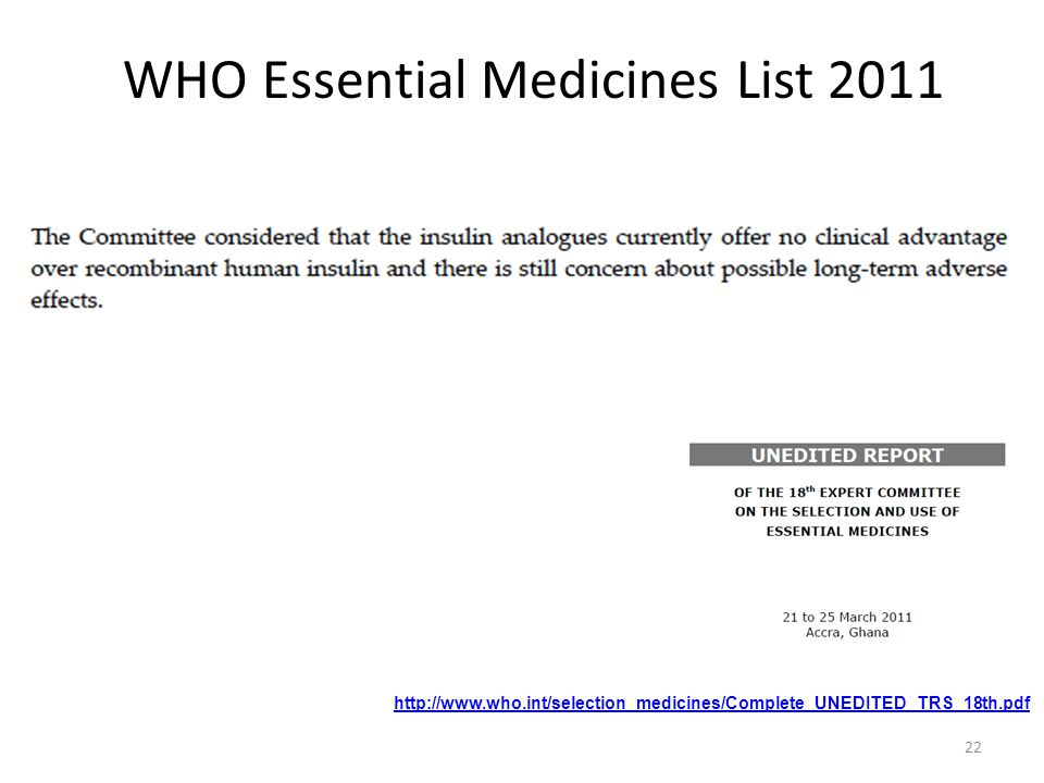 WHO Essential Medicines List 2011