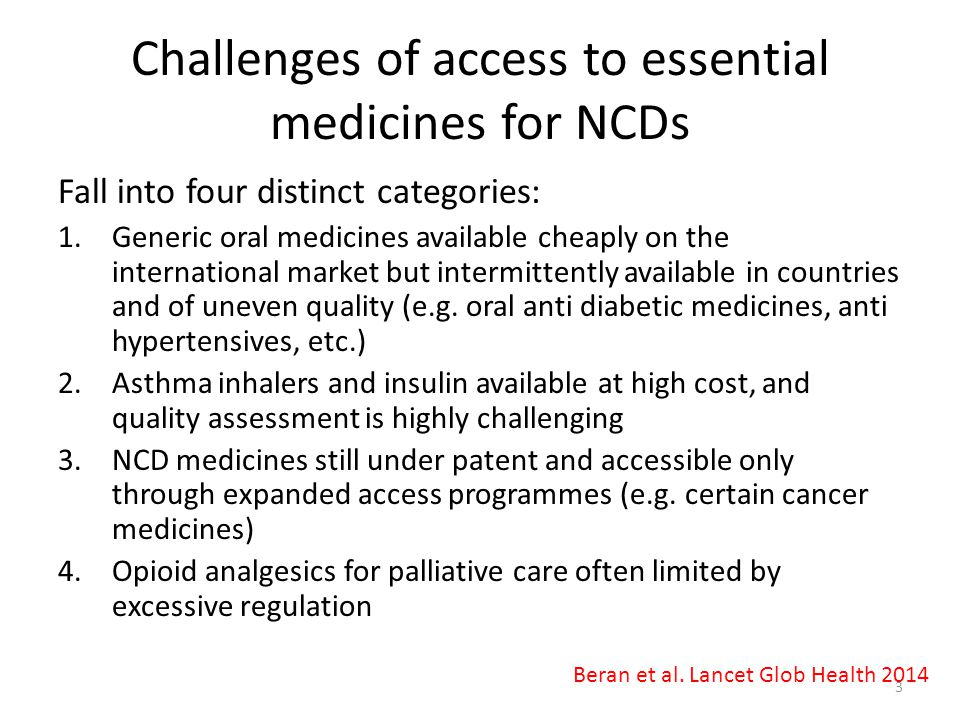 Challenges of access to essential medicines for NCDs