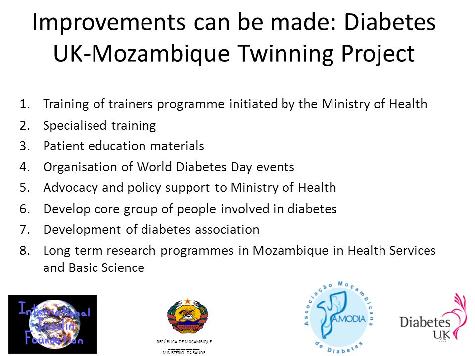 Improvements can be made: Diabetes UK-Mozambique Twinning Project