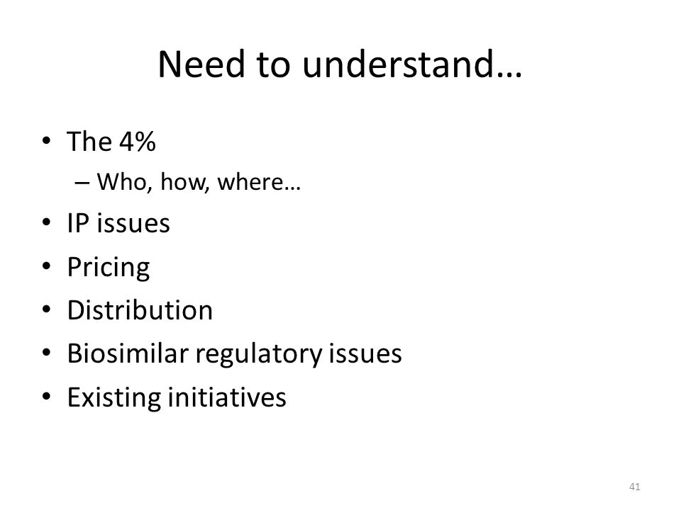 Need to understand… The 4% IP issues Pricing Distribution