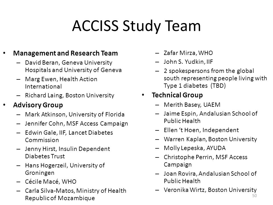 ACCISS Study Team Management and Research Team Technical Group