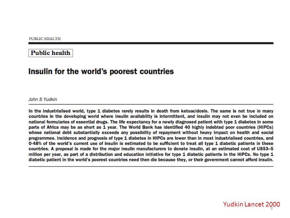Yudkin Lancet 2000