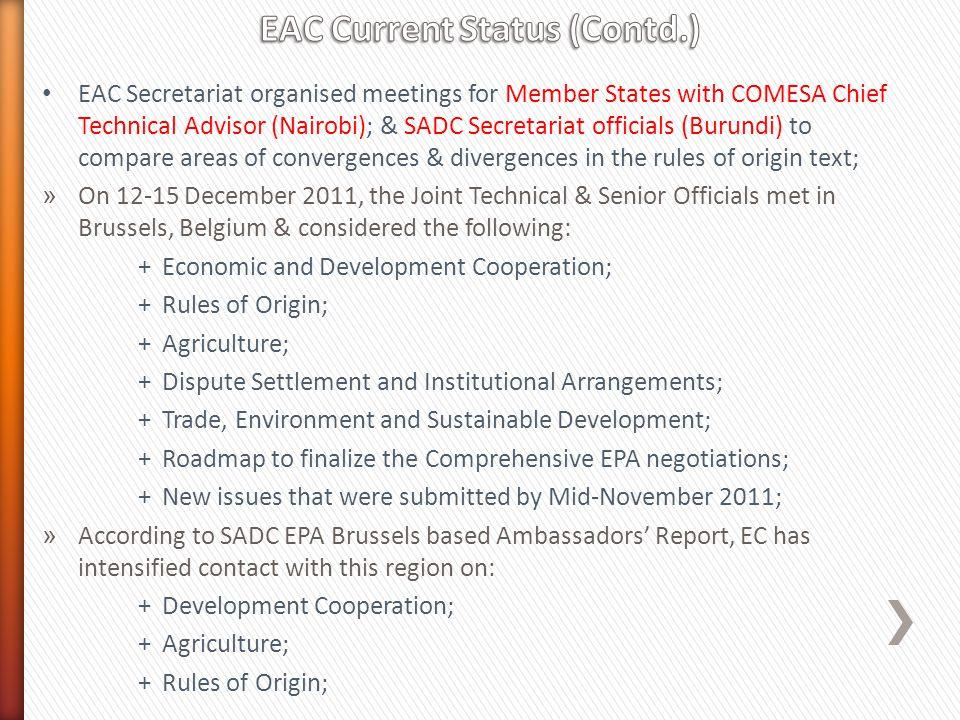 EAC Current Status (Contd.)
