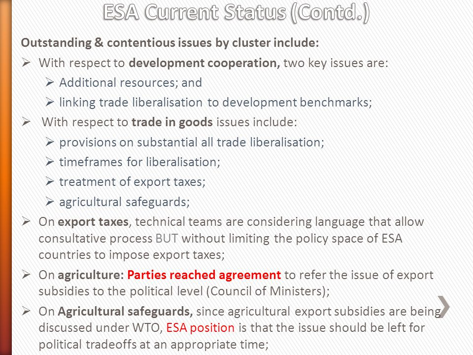 ESA Current Status (Contd.)