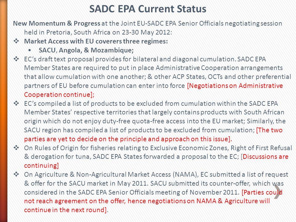SADC EPA Current Status