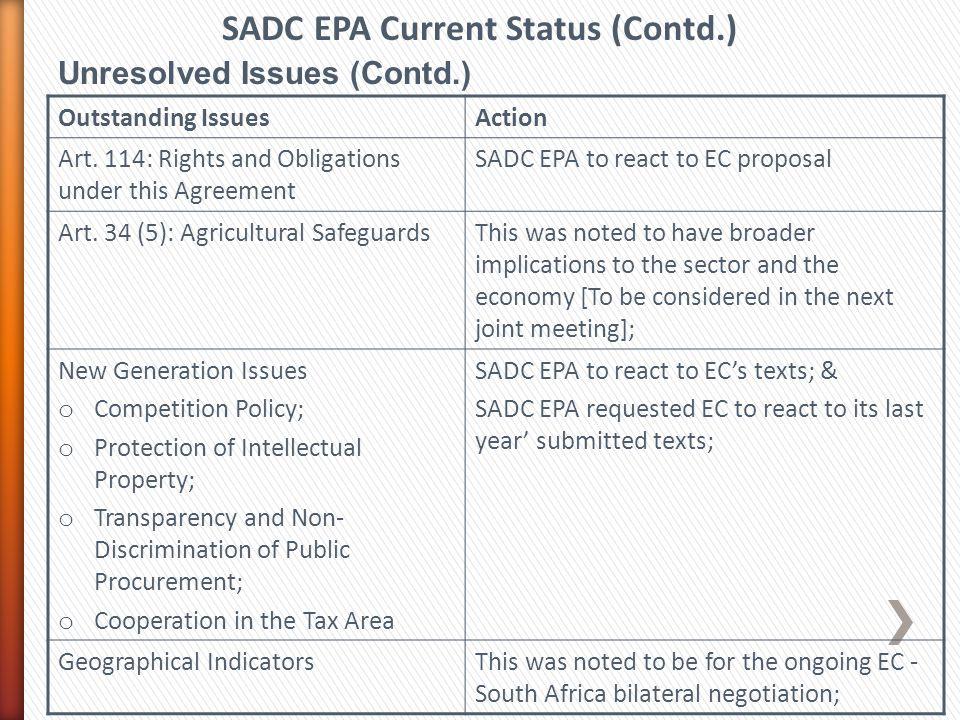 SADC EPA Current Status (Contd.)