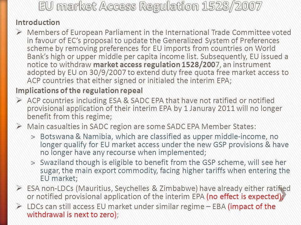 EU market Access Regulation 1528/2007